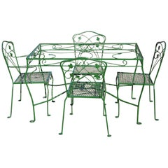 Vintage Salterini Green Wrought Iron Leaf Scrollwork Patio Dining Set, 5 Pieces