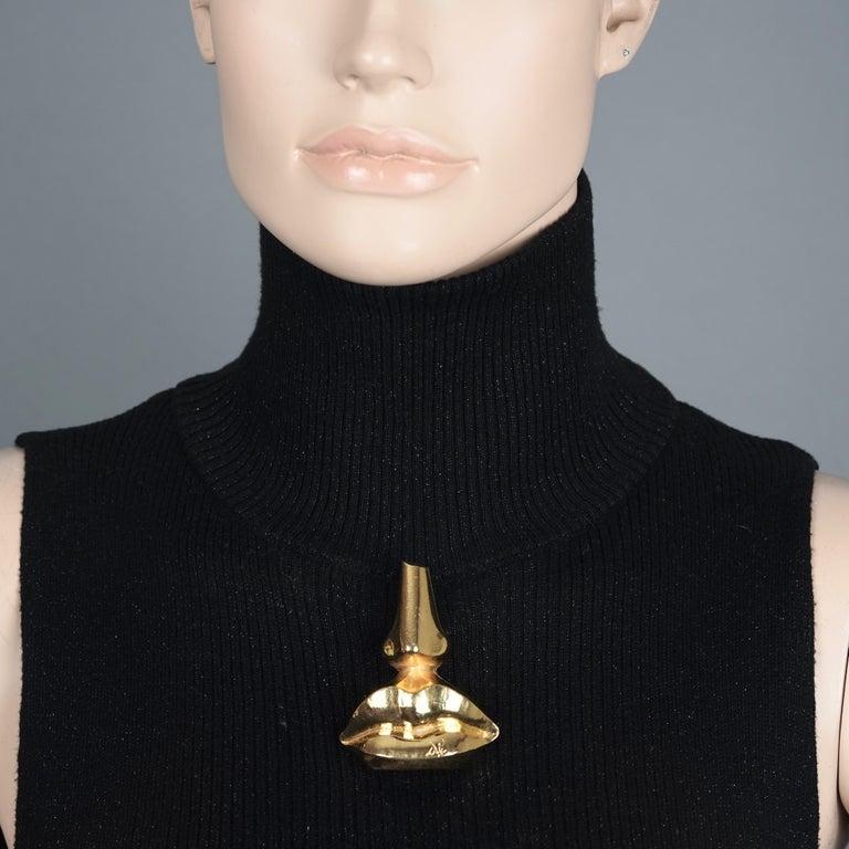 Vintage SALVADOR DALI Iconic Nose Lips Novelty Massive Brooch For Sale 6