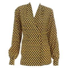 Vintage Salvatore Ferragamo Black and Gold Fleur de Lis Print Silk Blouse