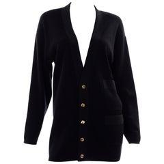Vintage Salvatore Ferragamo Black Marino Wool Cardigan Sweater Two Tone Buttons