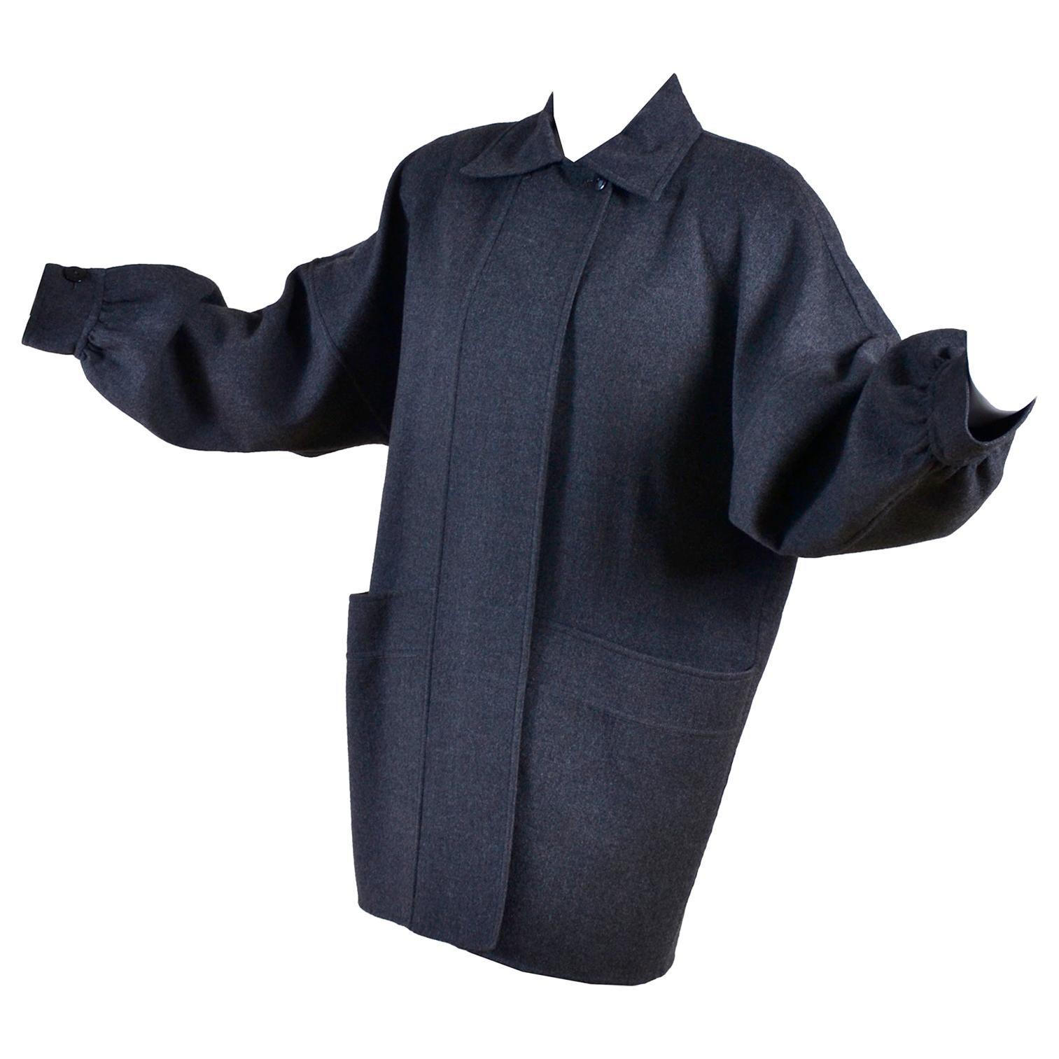 Vintage Salvatore Ferragamo Coat 1980s Oversized Gray Wool Jacket W Pockets