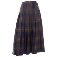 Vintage Salvatore Ferragamo Pleated Brown & Blue Pleated Plaid Midi Skirt