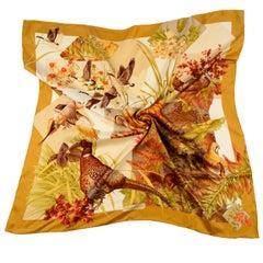 Vintage Salvatore Ferragamo Silk Fall Game Bird Hunt Theme Scarf