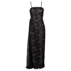 Vintage Sam Carlin Saks Fifth Avenue Black Lace Gown