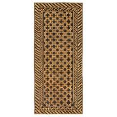 """Vintage Samarkand """"Khotan"""" Black, Brown and Beige Handwoven Wool Rug"""