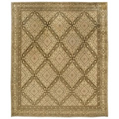 Vintage Samarkand 'Khotan' Brown Hand Knotted Wool Rug
