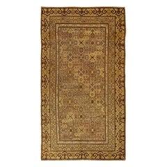 Vintage Samarkand 'Khotan' Camel and Brown Handwoven Wool Rug