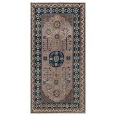 Vintage Samarkand 'Khotan' Light Brown and Blue Handmade Wool Rug