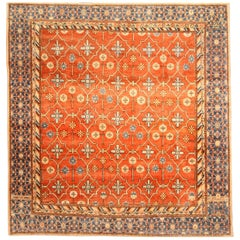 Early 20th Century Samarkand 'Khotan' Rug in Orange and Blue