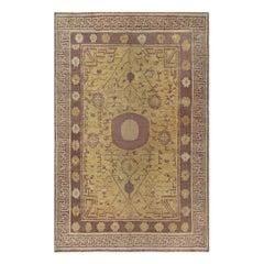 Vintage Samarkand 'Khotan' Yellow and Brown Handwoven Wool Rug