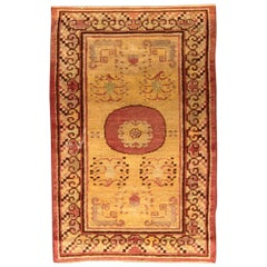 Vintage Samarkand 'Khotan' Yellow Hand Knotted Wool Rug