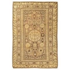 Vintage Samarkand Light Beige and Brown Handwoven Wool Rug
