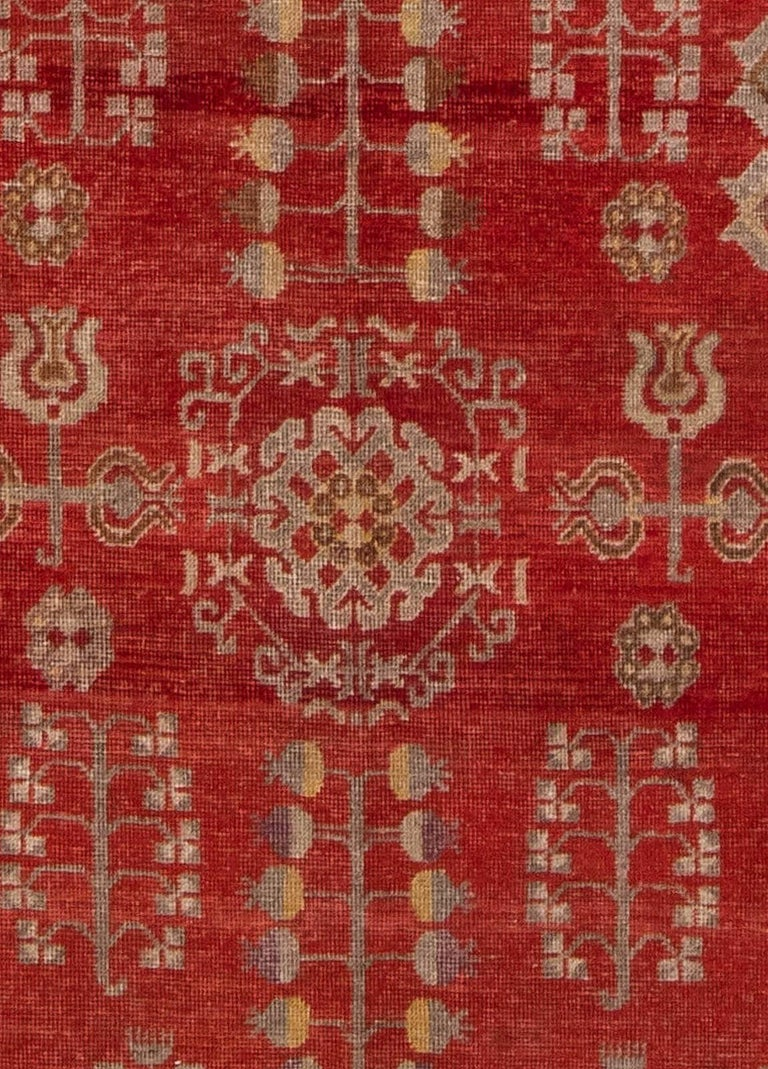 Mid-Century Samarkand Red & Gray Handwoven Wool Rug Size: 7'0