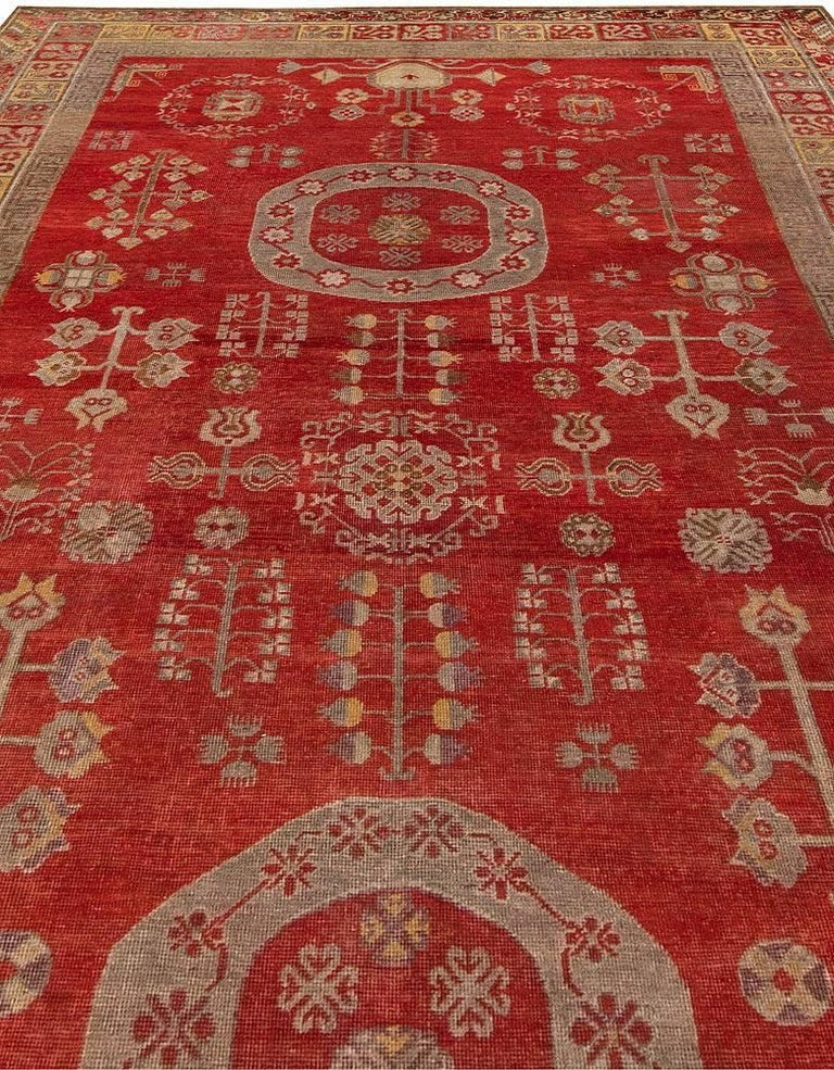 Chinese Mid-Century Samarkand Red & Gray Handwoven Wool Rug For Sale