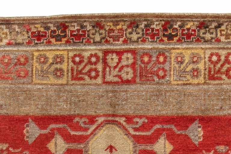 Hand-Woven Mid-Century Samarkand Red & Gray Handwoven Wool Rug For Sale