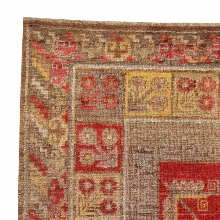 20th Century Mid-Century Samarkand Red & Gray Handwoven Wool Rug For Sale