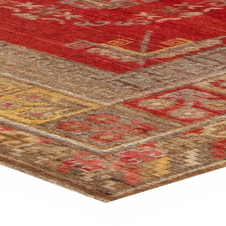 Mid-Century Samarkand Red & Gray Handwoven Wool Rug For Sale 1