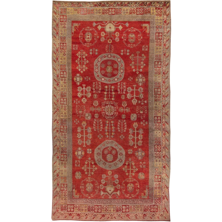 Mid-Century Samarkand Red & Gray Handwoven Wool Rug For Sale