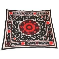 Vintage Samarkand Suzani, Uzbekistan Embroidered Textile Red and Black