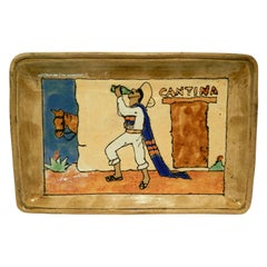 Vintage San Jose Pottery Serving Tray, Cantina