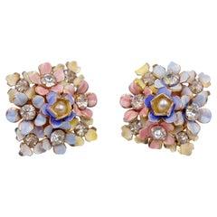 Vintage Sandor Blue Pink Enamel Earrings