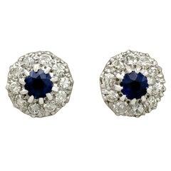 Vintage Sapphire and 1.20 Carat Diamond White Gold Stud Earrings, circa 1980