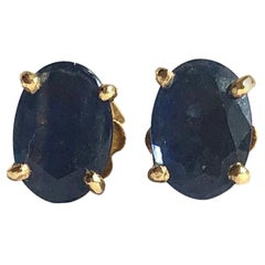 Vintage Sapphire and 18 Carat Gold Stud Earrings
