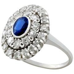 Vintage Sapphire and 1.88 Carat Diamond Platinum Cluster Ring