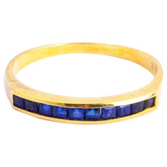 Vintage Sapphire and 9 Carat Gold Half Eternity Band