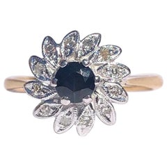 Vintage Sapphire and Diamond 18 Carat and Platinum Cluster Ring