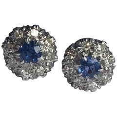 Vintage Sapphire and Diamond 18 Carat Gold and Platinum Cluster Stud Earrings
