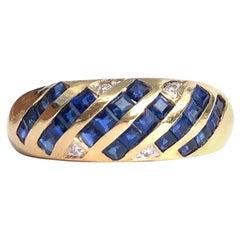 Vintage Sapphire and Diamond 18 Carat Gold Band
