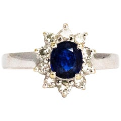 Vintage Sapphire and Diamond 18 Carat Gold Cluster