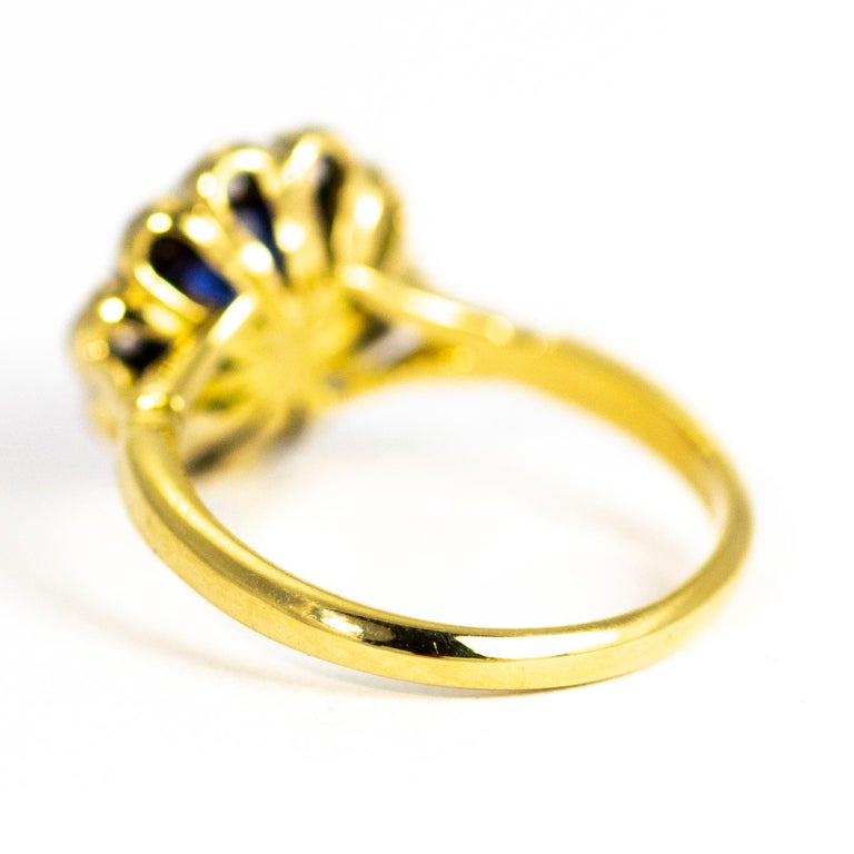 Modern Vintage Sapphire and Diamond 18 Carat Gold Cluster Ring