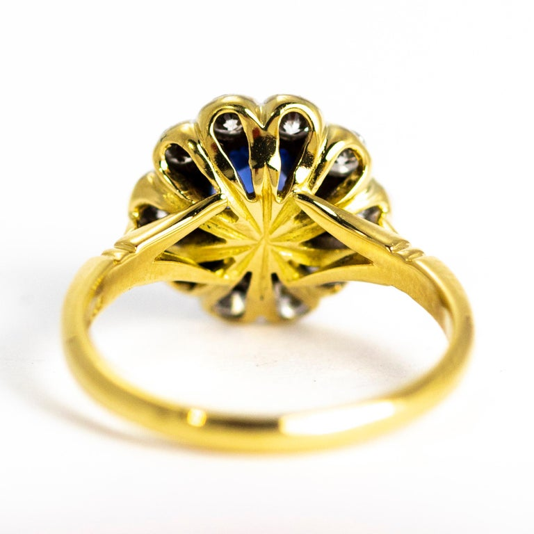 Old European Cut Vintage Sapphire and Diamond 18 Carat Gold Cluster Ring