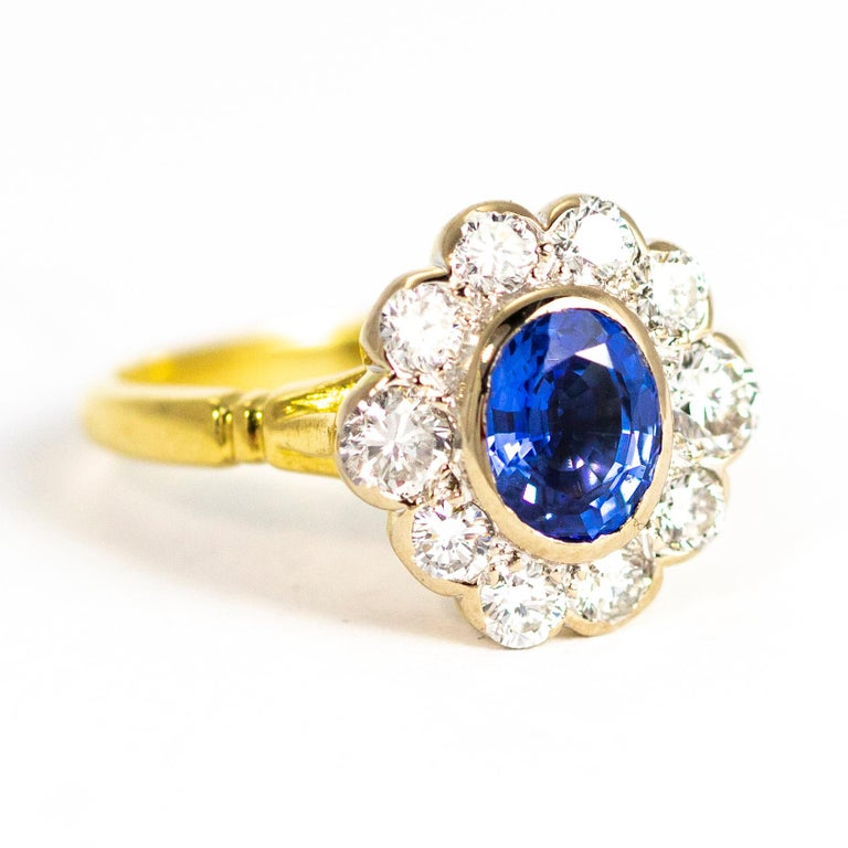 Women's Vintage Sapphire and Diamond 18 Carat Gold Cluster Ring