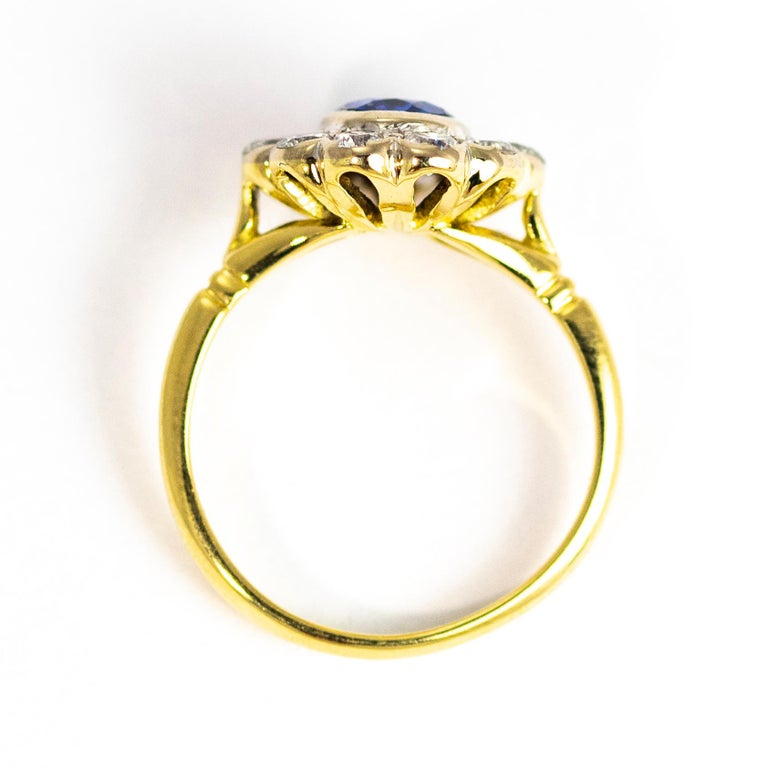 Vintage Sapphire and Diamond 18 Carat Gold Cluster Ring 1