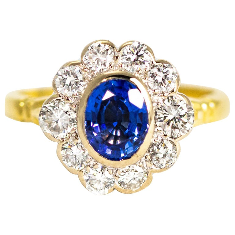 Vintage Sapphire and Diamond 18 Carat Gold Cluster Ring