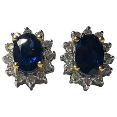 Vintage Sapphire and Diamond 18 Carat Gold Cluster Stud Earrings