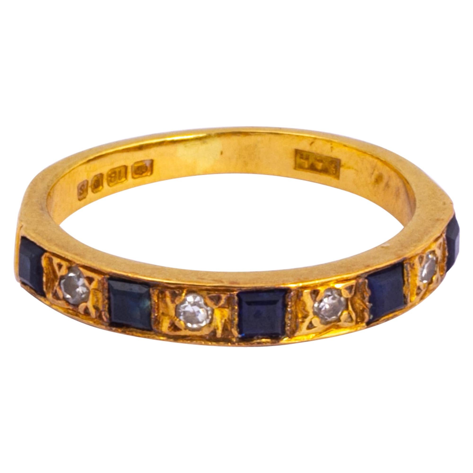 Vintage Sapphire and Diamond 18 Carat Gold Half Eternity Band