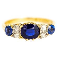 Vintage Sapphire and Diamond 18 Carat Gold Ring