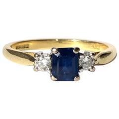 Vintage Sapphire and Diamond 18 Carat Gold Three-Stone Ring
