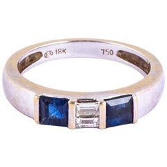 Vintage Sapphire and Diamond 18 Carat White Gold Band