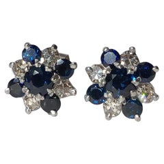 Vintage Sapphire and Diamond 18 Carat White Gold Stud Earrings