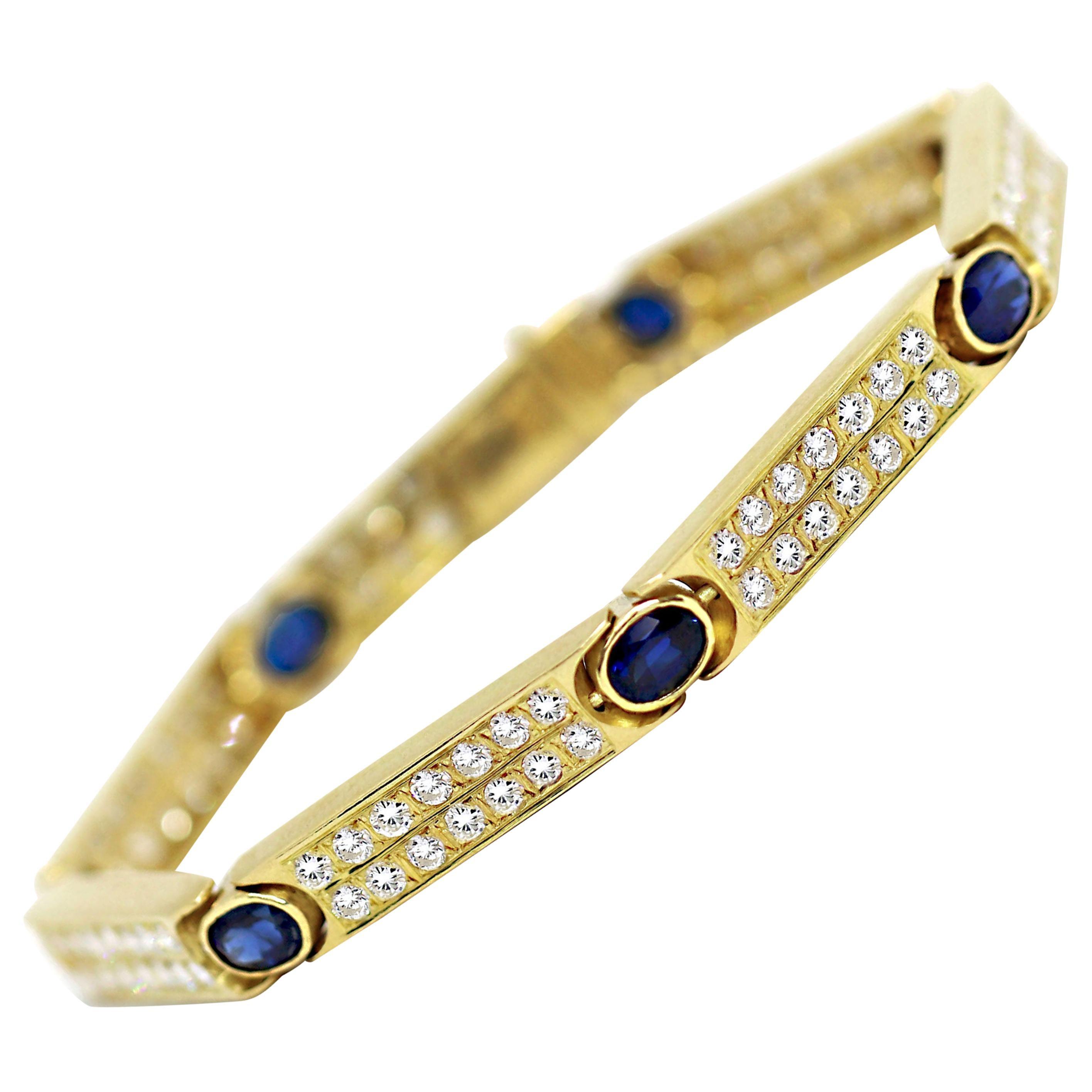 Vintage Sapphire and Diamond 18 Carat Yellow Gold Bracelet