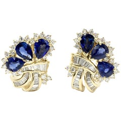 Vintage Sapphire and Diamond 18 Karat Earrings