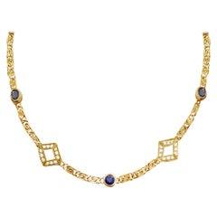 Vintage Sapphire and Diamond 18 Karat Yellow Gold Necklace