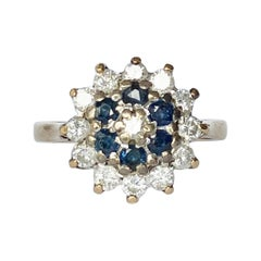 Vintage Sapphire and Diamond 9 Carat and Platinum Cluster Ring