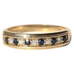 Vintage Sapphire and Diamond 9 Carat Gold 1/3 Eternity Band