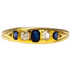 Vintage Sapphire and Diamond 9 Carat Gold Band